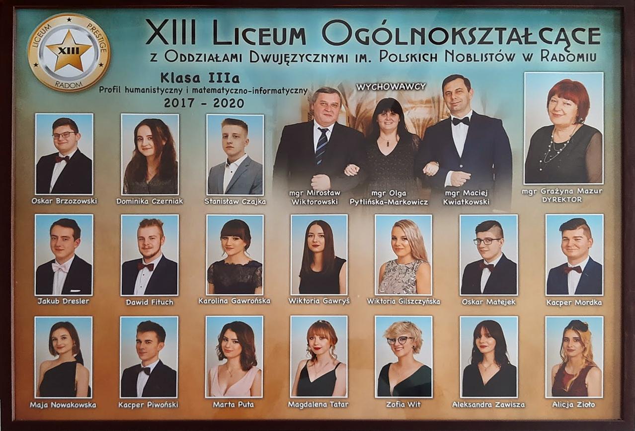 absolwenci tablo klasa IIIA 2017-2000